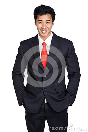 Business man smile suit isolated