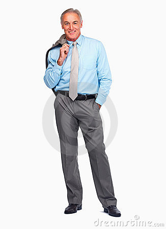 Business man smiling against a white background
