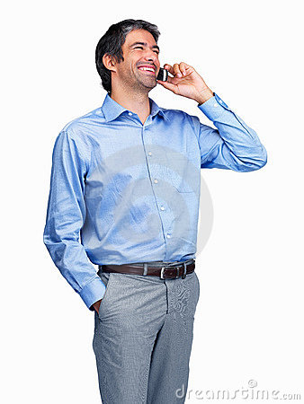 Business man speaking on cell phone - Isolated