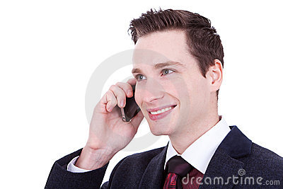 Business man speaking over cellphone