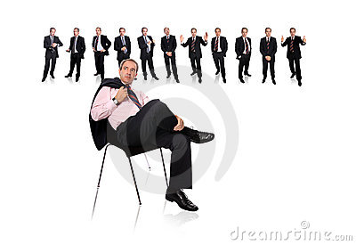 Business man and staff behind