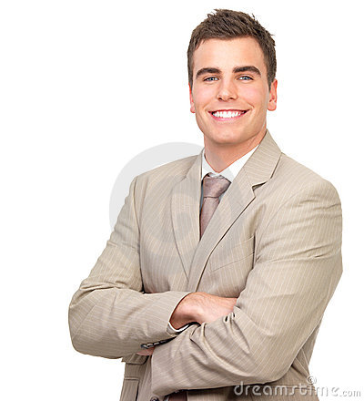 Business man standing with arms crossed, smiling