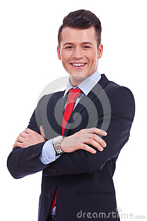Business man standing with crossed arms