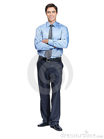 Business man standing isolated against white