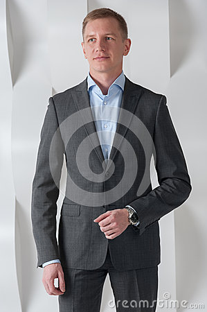 Free Business Man Stands In Modern Urban Office Interior Stock Photography - 50938042