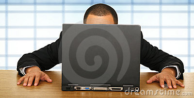 Business Man Staring At Laptop