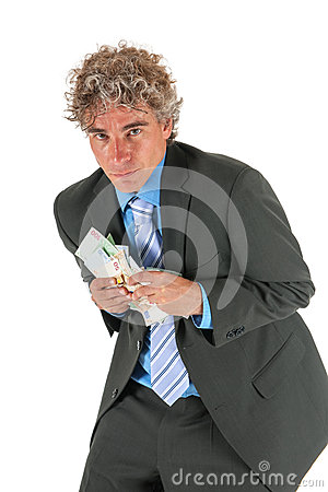 Business man with stolen money