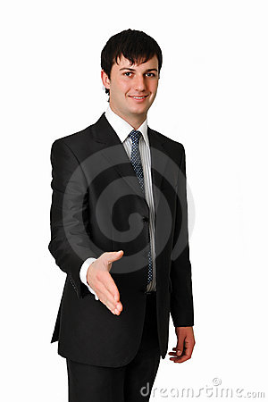 BUSINESS MAN STRETCHING HIS HAND FOR A HANDSHAKE
