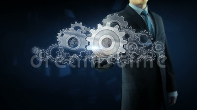 Business man success gear team work concept. Business man build success gear team work concept design theme stock video footage