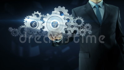 Business man success gear team work concept. Business man build success gear team work concept design theme