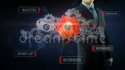 Business man success gear team work concept red. Business man build success gear team work concept design red text theme