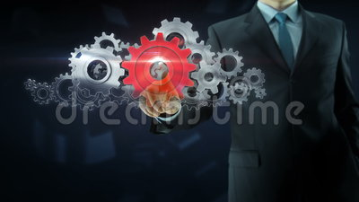 Business man success gear team work concept red. Business man build success gear team work concept design red theme