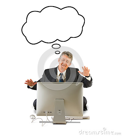 Happy man on a computer with a thought bubble