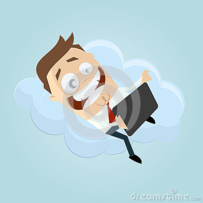Business man with tablet computer on a cloud