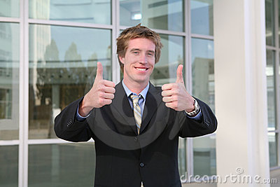 Business Man Thumbs Up (Focus on Thumbs)