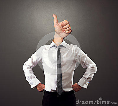 Business man with thumbs up gesture