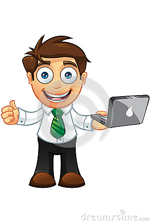 Business Man - Thumbs Up With Laptop