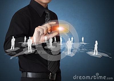 Business man touching icon of social network