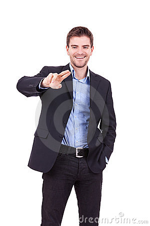 Business man touching imaginary screen
