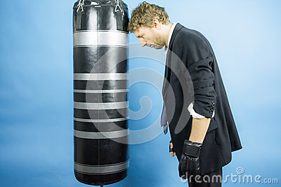 Business man are training to box