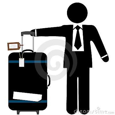 Business Man Traveler & Suitcase with Luggage Tags