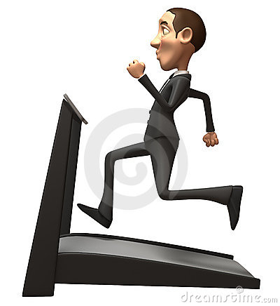 Business man on a treadmill