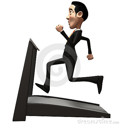 Business man on a treadmill
