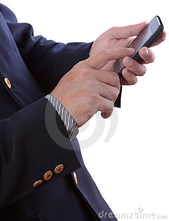 Business man typing mobile phone Stock Photo