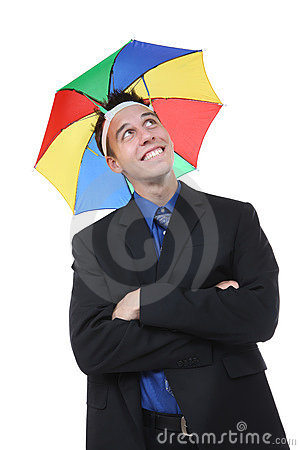 Business Man Under Umbrella