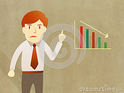 Business man unhappy growth progress graph