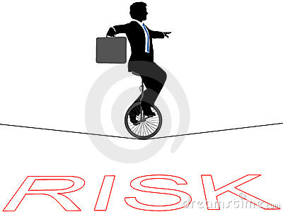 Business man unicycle tightrope financial risk