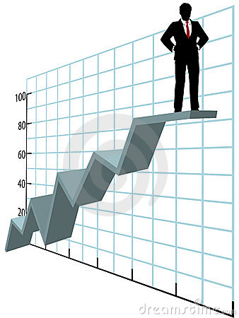 Free Business Man Up Top Company Growth Chart Royalty Free Stock Photos - 17328308
