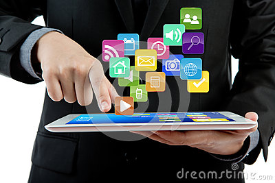 Business man use tablet pc computer.
