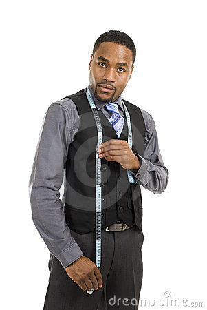 Business man using a measuring tape