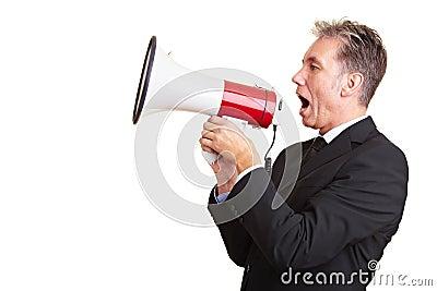 Business man using a megaphone