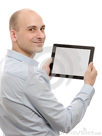 Business man using a tablet pc
