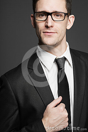 Business Man In White Shirt And Black Suit. Stock Photos - Image ...