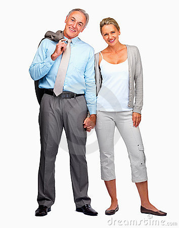 Business man with wife smiling over white