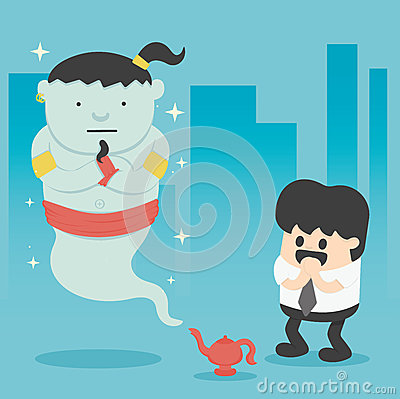 Free Business Man With Giant In Magic Lamp Royalty Free Stock Image - 55661996