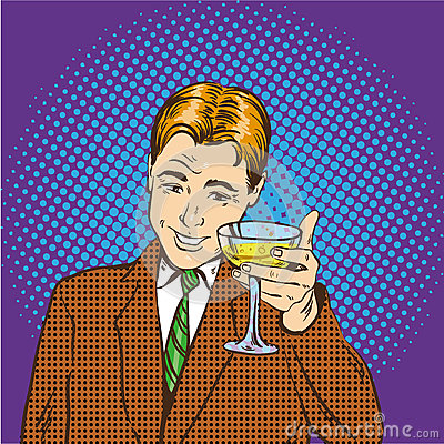 Free Business Man With Glass Of Champagne Celebrates Closed Deal. Cheers And Party Concept Vector Illustration In Retro Pop Royalty Free Stock Photos - 79199838