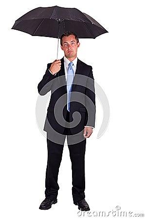 Free Business Man With Umbrella Stock Photos - 26174503