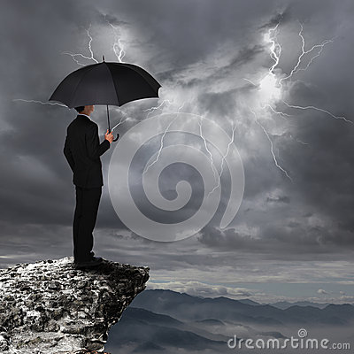 Free Business Man With Umbrella Look Rainstorm Cloud Royalty Free Stock Images - 31973989