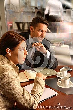 Business man woman conversation