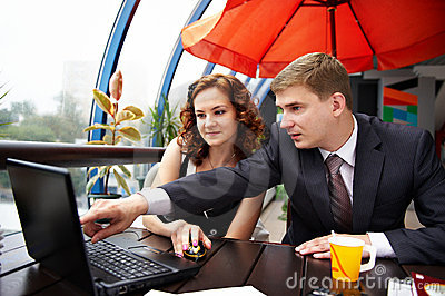 Business man and woman discussing on lunch