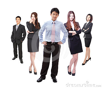Business man and woman group in full length