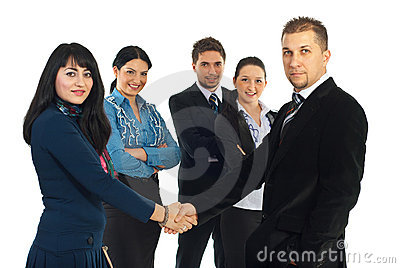 Business man and woman handshake