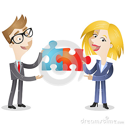Business man and woman with jigsaw pieces