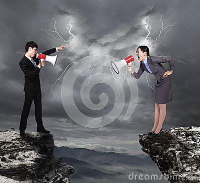 Business Man and woman shouting to each other