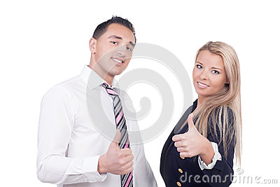 Business man and woman showing thumbs up