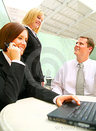 Business Man And Woman Talking